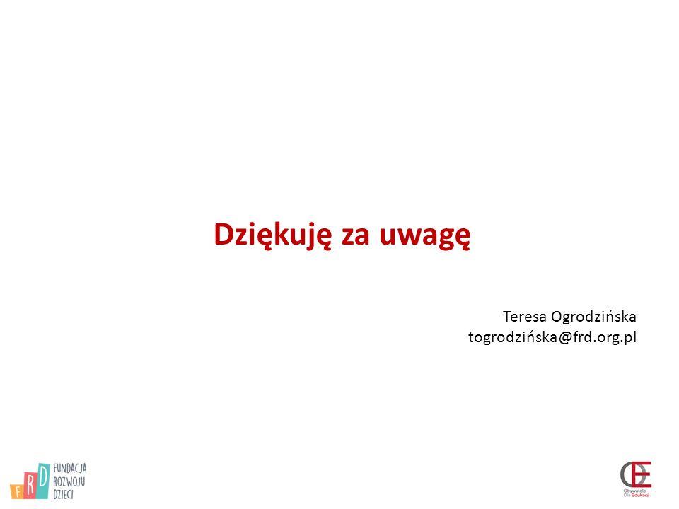 Dziękuję za uwagę Teresa Ogrodzińska togrodzińska@frd.org.pl