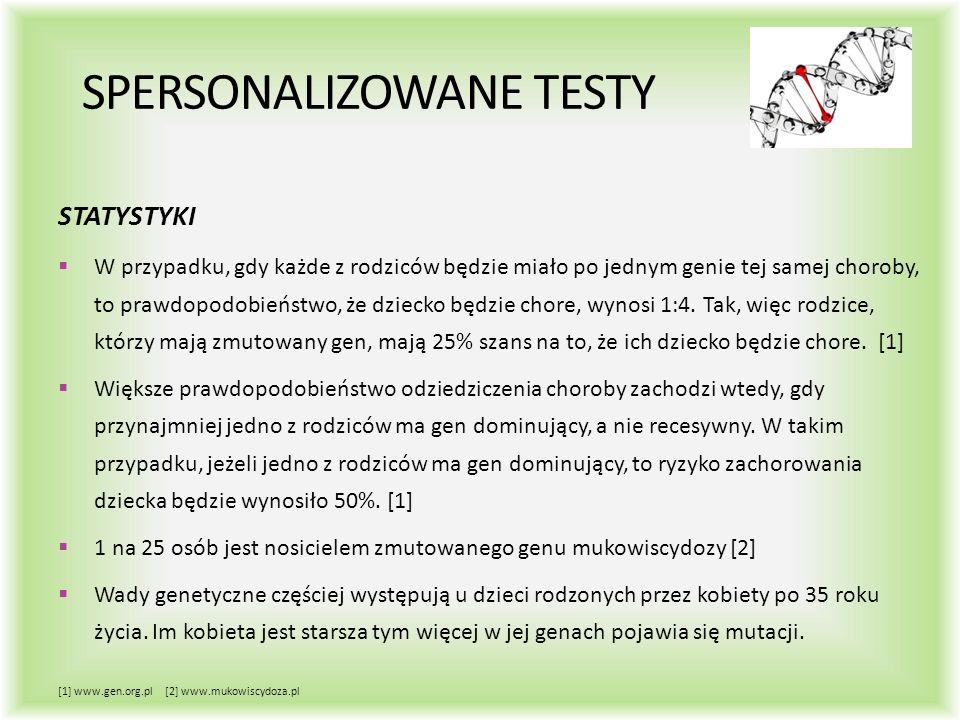 SPERSONALIZOWANE TESTY STATYSTYKI  W przypadku, gdy każde z rodziców będzie miało po jednym genie tej samej choroby, to prawdopodobieństwo, że dziecko będzie chore, wynosi 1:4.