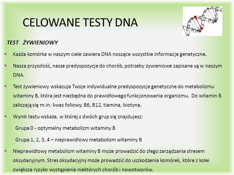 CELOWANE TESTY DNA TEST ŻYWIENIOWY  Każda komórka w naszym ciele zawiera DNA noszące wszystkie informacje genetyczne.