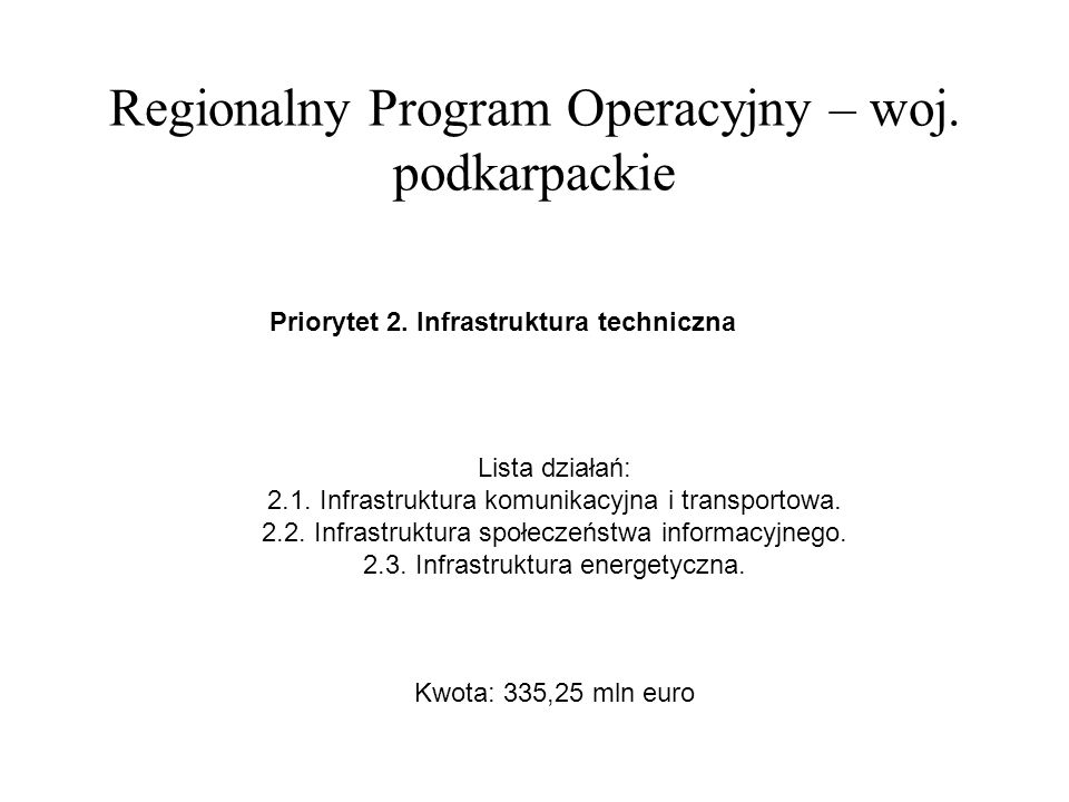 Regionalny Program Operacyjny – woj. podkarpackie Priorytet 2.