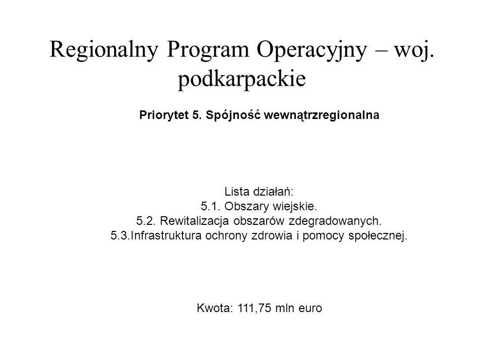 Regionalny Program Operacyjny – woj. podkarpackie Priorytet 5.