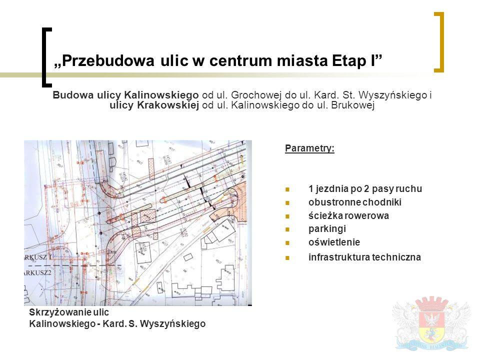Parametry: 1 jezdnia po 2 pasy ruchu obustronne chodniki ścieżka rowerowa parkingi oświetlenie infrastruktura techniczna Skrzyżowanie ulic Kalinowskiego - Kard.