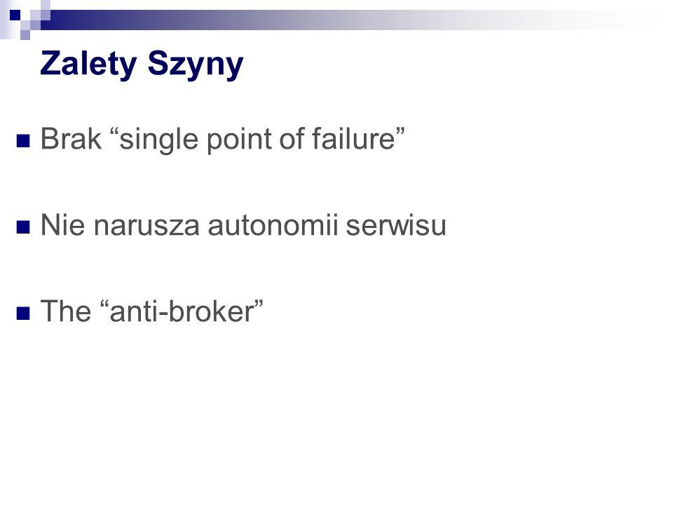 Zalety Szyny Brak single point of failure Nie narusza autonomii serwisu The anti-broker