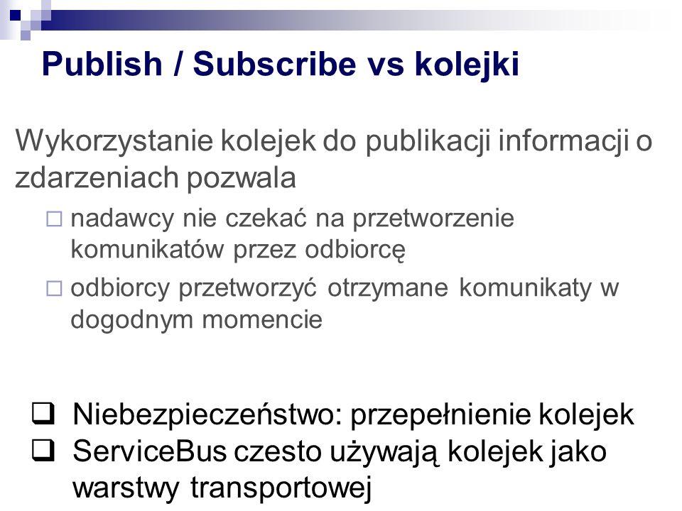 Publish / Subscribe vs kolejki Wykorzystanie kolejek do publikacji informacji o zdarzeniach pozwala  nadawcy nie czekać na przetworzenie komunikatów przez odbiorcę  odbiorcy przetworzyć otrzymane komunikaty w dogodnym momencie  Niebezpieczeństwo: przepełnienie kolejek  ServiceBus czesto używają kolejek jako warstwy transportowej