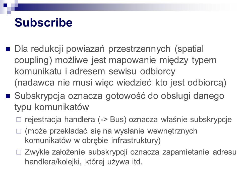 Subscribe Dla redukcji powiazań przestrzennych (spatial coupling) możliwe jest mapowanie między typem komunikatu i adresem sewisu odbiorcy (nadawca nie musi więc wiedzieć kto jest odbiorcą) Subskrypcja oznacza gotowość do obsługi danego typu komunikatów  rejestracja handlera (-> Bus) oznacza właśnie subskrypcje  (może przekładać się na wysłanie wewnętrznych komunikatów w obrębie infrastruktury)  Zwykle założenie subskrypcji oznacza zapamietanie adresu handlera/kolejki, której używa itd.