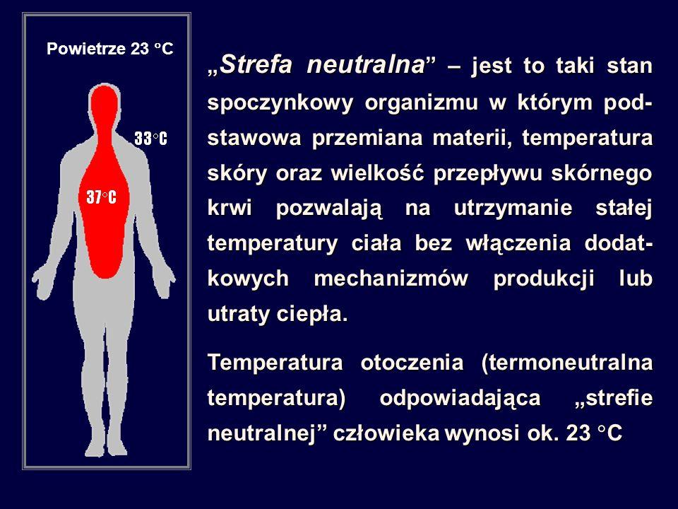 """"""" Strefa neutralna – jest to taki stan spoczynkowy organizmu w którym pod- stawowa przemiana materii, temperatura skóry oraz wielkość przepływu skórnego krwi pozwalają na utrzymanie stałej temperatury ciała bez włączenia dodat- kowych mechanizmów produkcji lub utraty ciepła."""