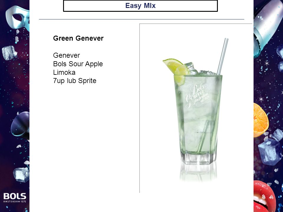 Easy MIx Green Genever Genever Bols Sour Apple Limoka 7up lub Sprite