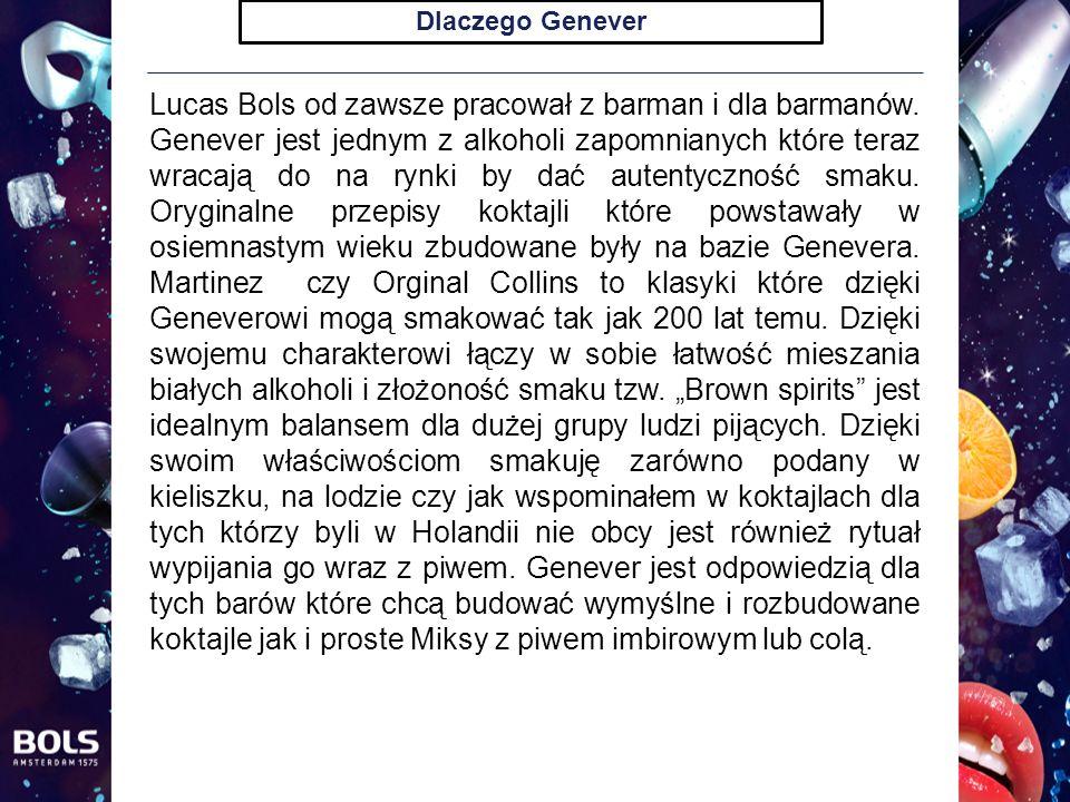 Grupy koktajli Pracując na koktajlami polecanymi popatrzyliśmy na Genever nie tylko jak na starą markę do robienia stylowych koktajli ale na alkohol który ma być popularny i swoją tradycją nie przytłaczać swoich możliwości.