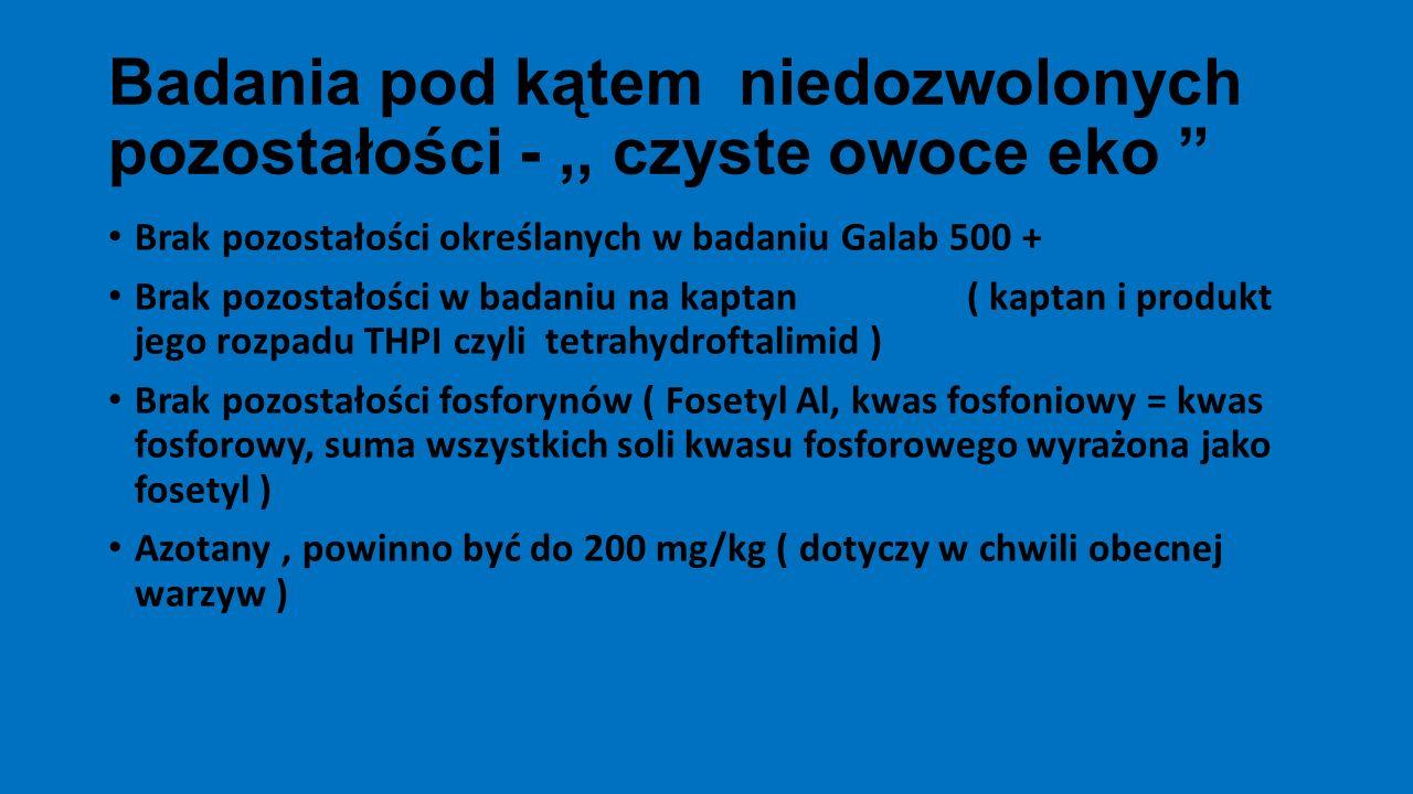 Wykrywanie pozostałości fungicydów o karencji 1- 3 dni ( dane niemieckie, za Adamem Furą ) Preparat)Karencja - dniSubstancja aktywna Ilość dni po zabiegu kiedy pozostałości mogą być jeszcze wykryte Switch 62,5 WG1cyprodynil fludioksonil 75 55 Teldor 500 SC1fenheksamid> 100 Mythos 300 SC3pirymetanil110 Zato 50 WGNd ( nie dotyczytrifloksystrobina> 130 Amistar OptyBrak rejestracji w uprawach ogrodniczych chlorotalonil piraklostrobina do 50 > 50 Nic się nie ukryje !