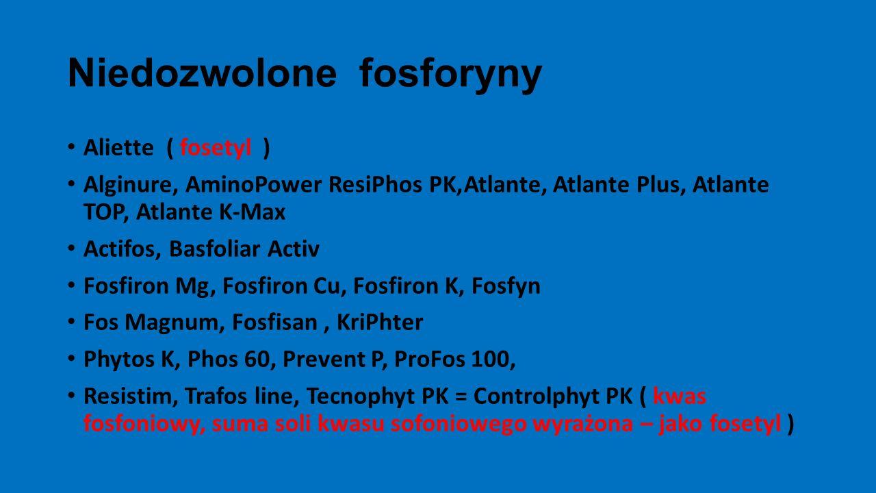 Niedozwolone fosforyny Aliette ( fosetyl ) Alginure, AminoPower ResiPhos PK,Atlante, Atlante Plus, Atlante TOP, Atlante K-Max Actifos, Basfoliar Activ Fosfiron Mg, Fosfiron Cu, Fosfiron K, Fosfyn Fos Magnum, Fosfisan, KriPhter Phytos K, Phos 60, Prevent P, ProFos 100, Resistim, Trafos line, Tecnophyt PK = Controlphyt PK ( kwas fosfoniowy, suma soli kwasu sofoniowego wyrażona – jako fosetyl )