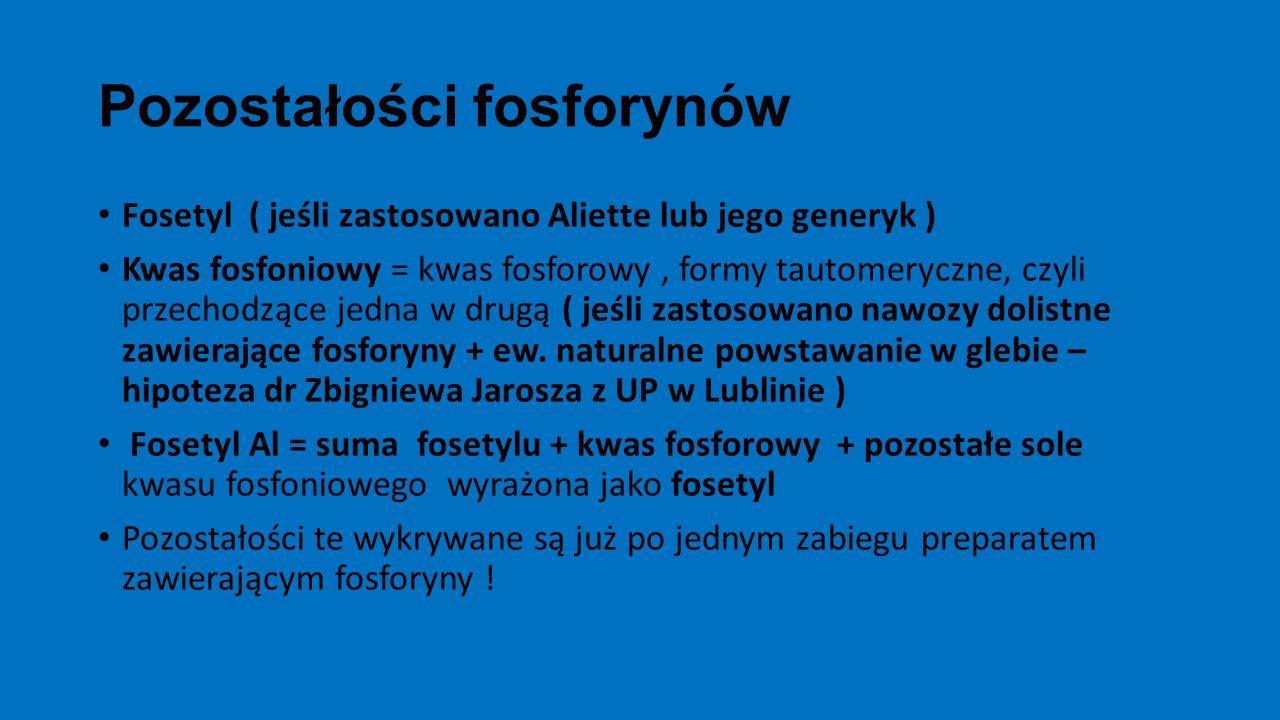 Pozostałości fosforynów Fosetyl ( jeśli zastosowano Aliette lub jego generyk ) Kwas fosfoniowy = kwas fosforowy, formy tautomeryczne, czyli przechodzą