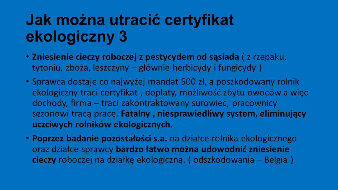 Jak można utracić certyfikat ekologiczny 3 Zniesienie cieczy roboczej z pestycydem od sąsiada ( z rzepaku, tytoniu, zboża, leszczyny – głównie herbicy