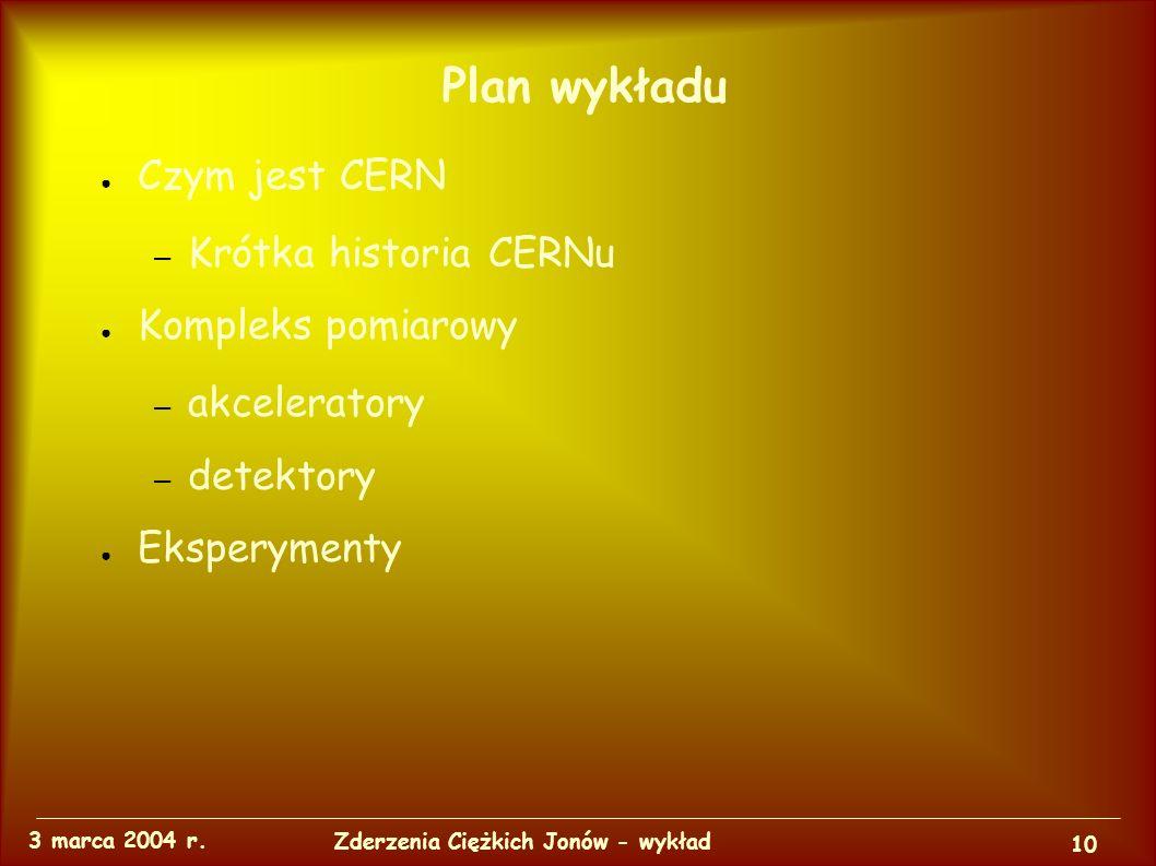 Kompleks pomiarowy i eksperymenty w CERN 3 marca 2004 r.