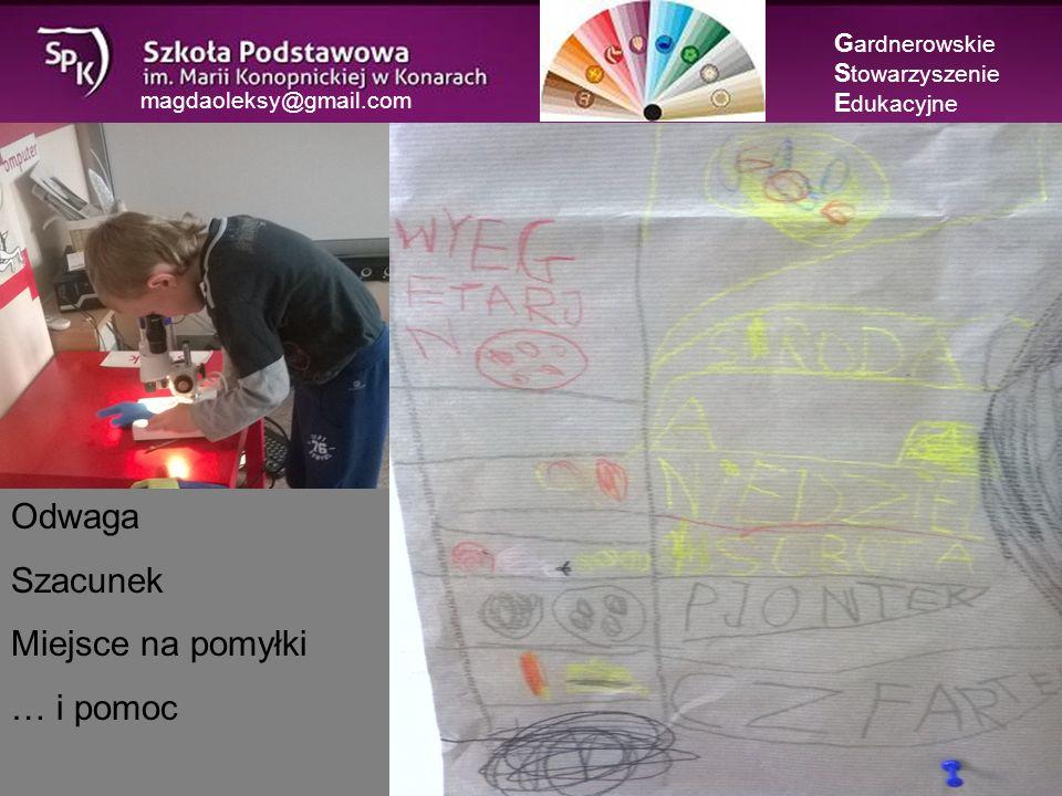 magdaoleksy@gmail.com G ardnerowskie S towarzyszenie E dukacyjne Odwaga Szacunek Miejsce na pomyłki … i pomoc