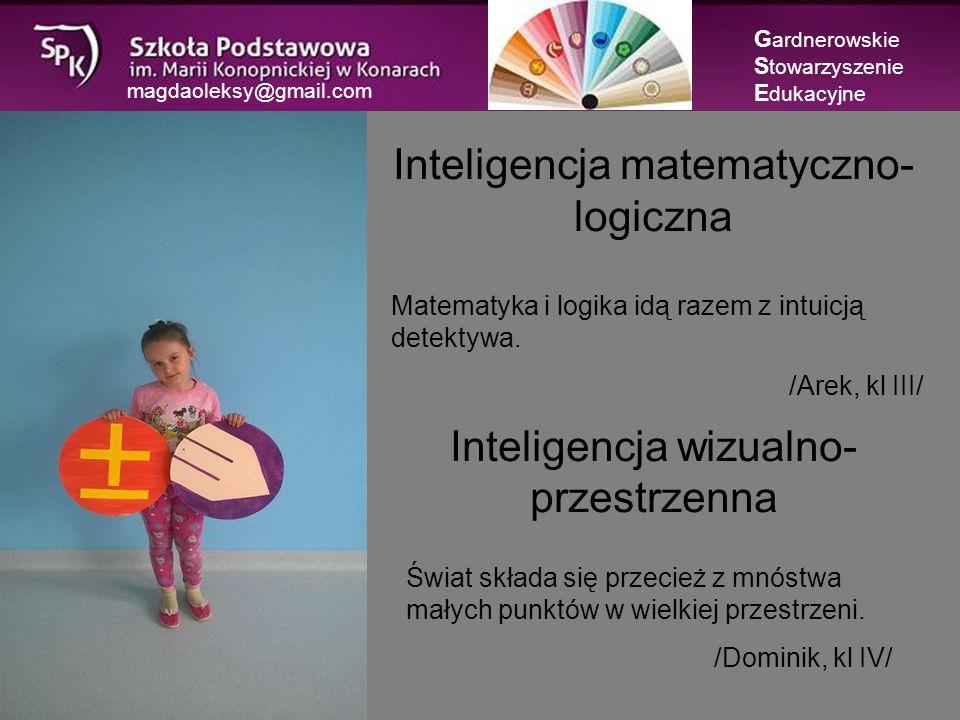 magdaoleksy@gmail.com Inteligencja interpersonalna Inteligencja intrapersonalna G ardnerowskie S towarzyszenie E dukacyjne Nikt tak dobrze nie zorganizuje moich zadań jak ja sam.