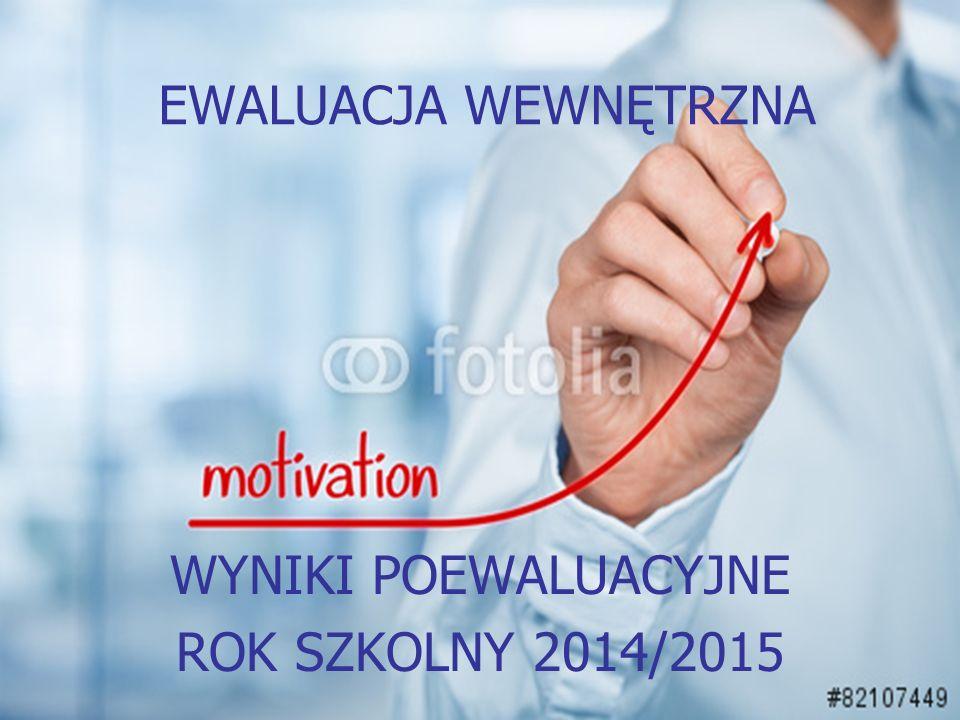 EWALUACJA WEWNĘTRZNA WYNIKI POEWALUACYJNE ROK SZKOLNY 2014/2015