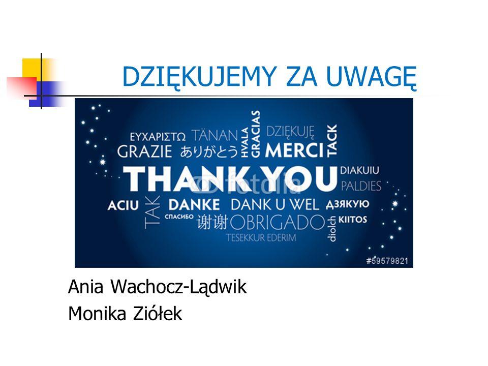 DZIĘKUJEMY ZA UWAGĘ Ania Wachocz-Lądwik Monika Ziółek