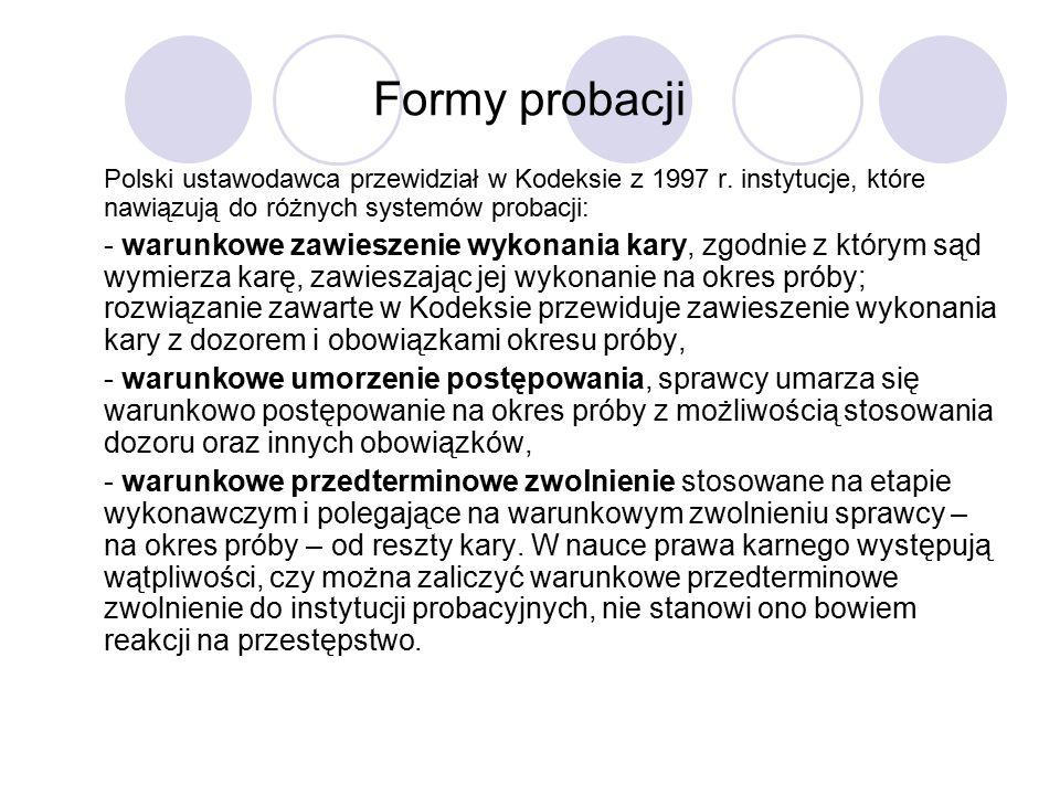 Formy probacji Polski ustawodawca przewidział w Kodeksie z 1997 r.