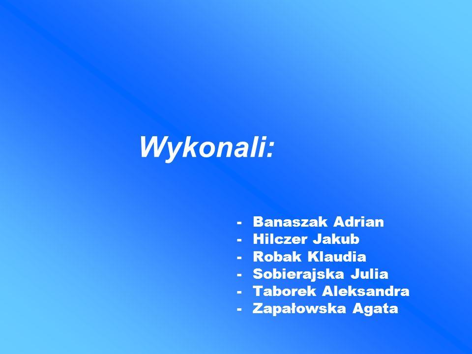 Wykonali: -Banaszak Adrian -Hilczer Jakub -Robak Klaudia -Sobierajska Julia -Taborek Aleksandra -Zapałowska Agata