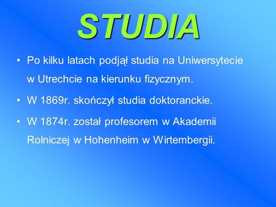STUDIA Po kilku latach podjął studia na Uniwersytecie w Utrechcie na kierunku fizycznym.