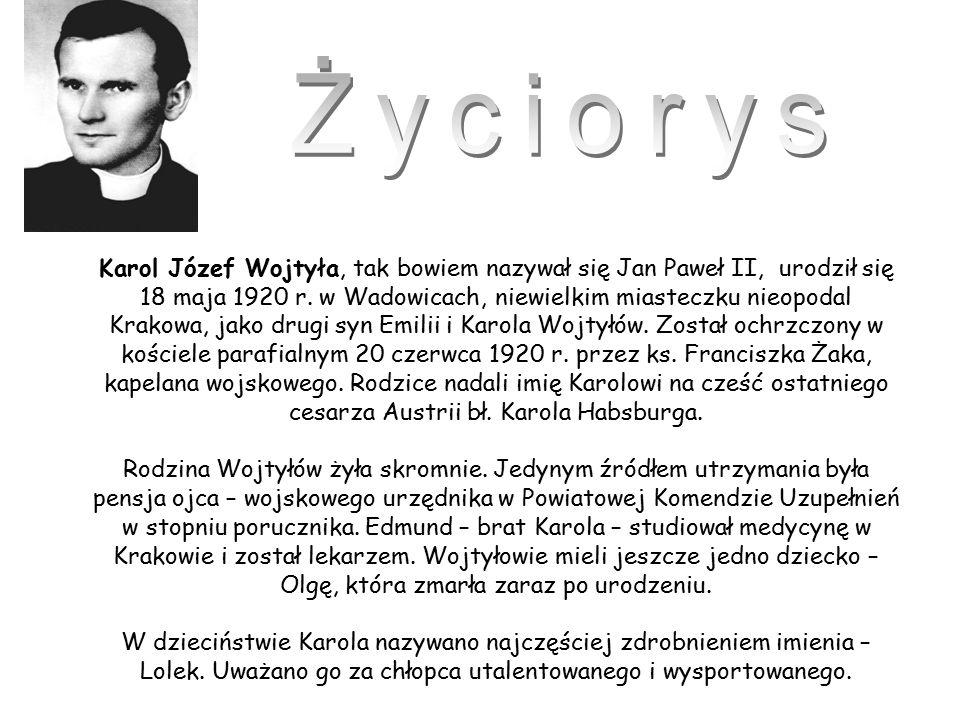Karol Józef Wojtyła, tak bowiem nazywał się Jan Paweł II, urodził się 18 maja 1920 r.
