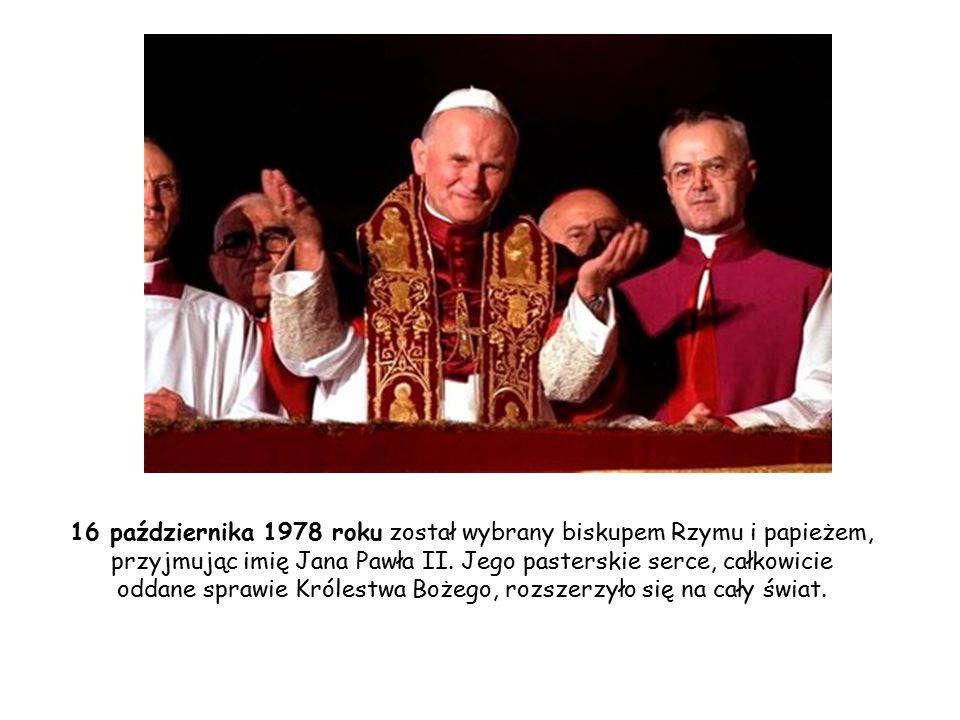 16 października 1978 roku został wybrany biskupem Rzymu i papieżem, przyjmując imię Jana Pawła II.