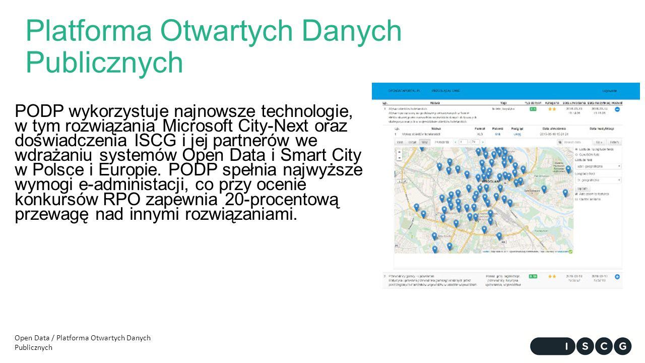 Platforma Otwartych Danych Publicznych PODP wykorzystuje najnowsze technologie, w tym rozwiązania Microsoft City-Next oraz doświadczenia ISCG i jej partnerów we wdrażaniu systemów Open Data i Smart City w Polsce i Europie.