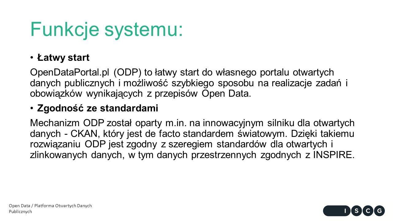 Funkcje systemu: Łatwy start OpenDataPortal.pl (ODP) to łatwy start do własnego portalu otwartych danych publicznych i możliwość szybkiego sposobu na