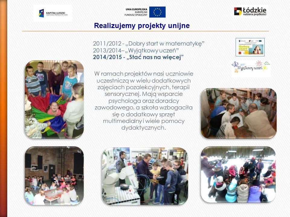 Realizujemy projekty unijne W ramach projektów nasi uczniowie uczestniczą w wielu dodatkowych zajęciach pozalekcyjnych, terapii sensorycznej.