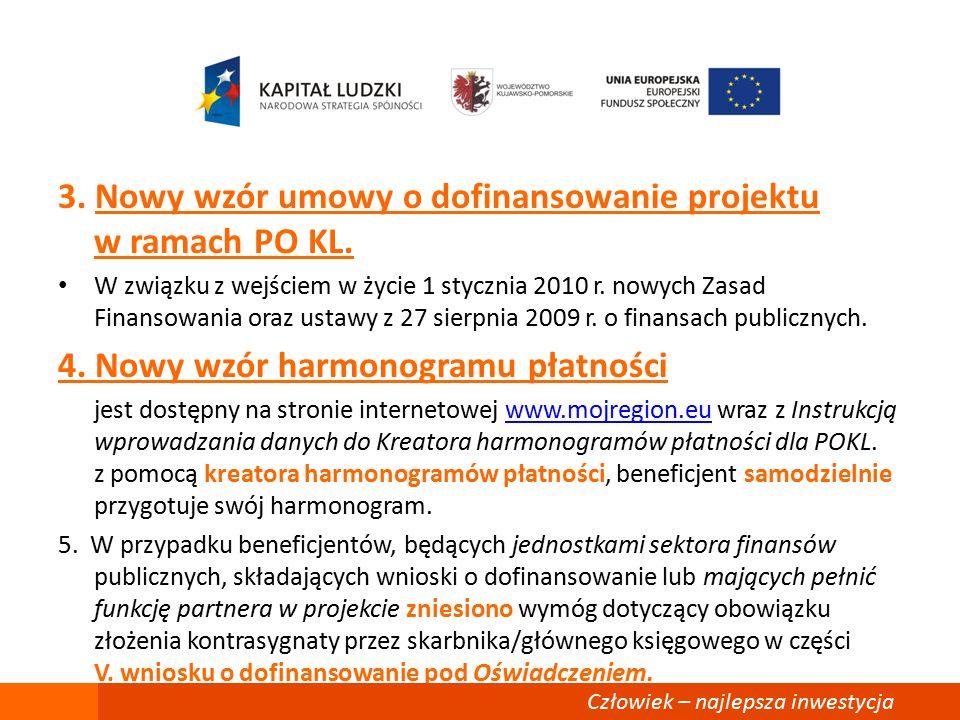 3. Nowy wzór umowy o dofinansowanie projektu w ramach PO KL.