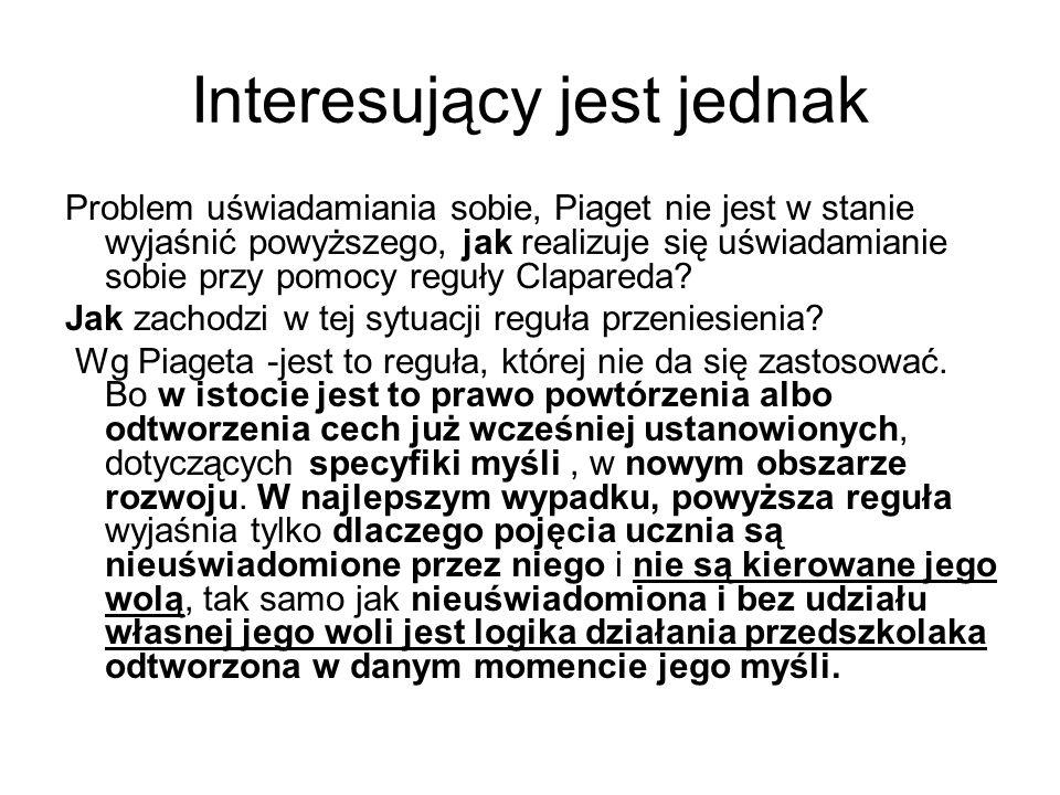 Interesujący jest jednak Problem uświadamiania sobie, Piaget nie jest w stanie wyjaśnić powyższego, jak realizuje się uświadamianie sobie przy pomocy reguły Clapareda.