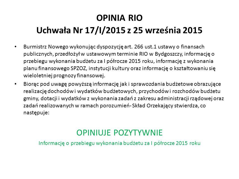 OPINIA RIO Uchwała Nr 17/I/2015 z 25 września 2015 Burmistrz Nowego wykonując dyspozycję art.