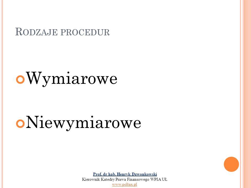 R ODZAJE PROCEDUR Wymiarowe Niewymiarowe Prof. dr hab. Henryk Dzwonkowski Kierownik Katedry Prawa Finansowego WPIA UŁ www.poltax.pl