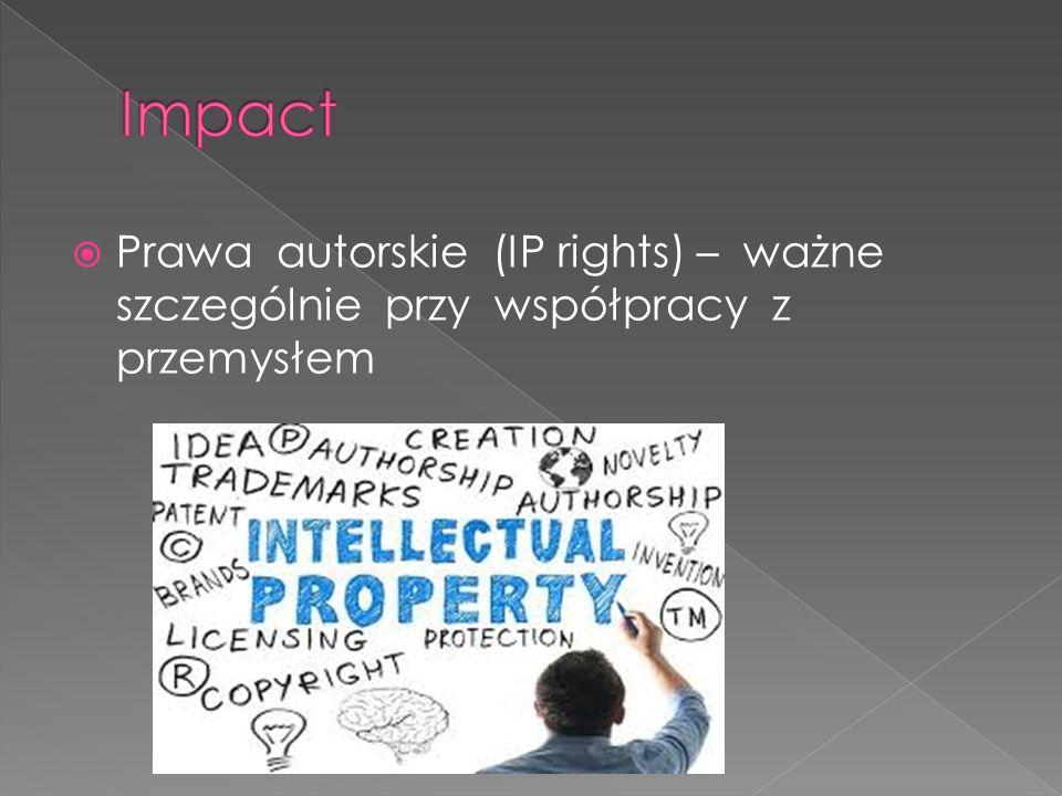  Prawa autorskie (IP rights) – ważne szczególnie przy współpracy z przemysłem