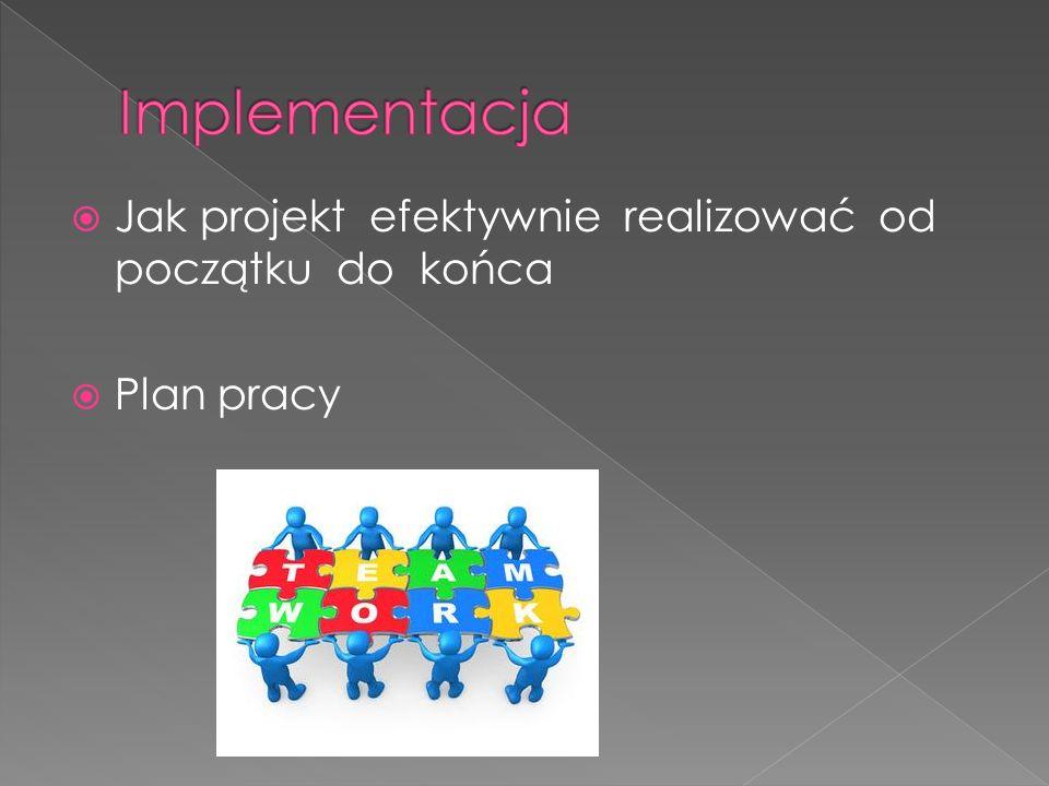  Jak projekt efektywnie realizować od początku do końca  Plan pracy