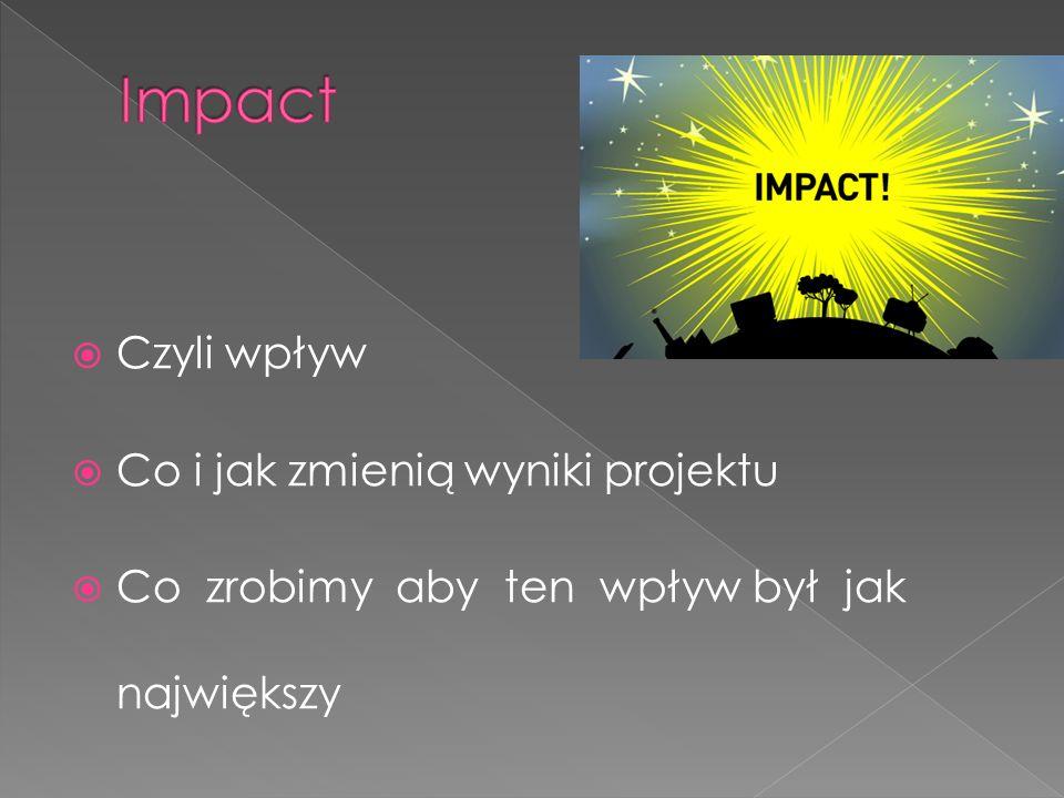  Czyli wpływ  Co i jak zmienią wyniki projektu  Co zrobimy aby ten wpływ był jak największy