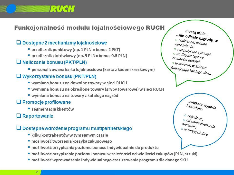 35 Funkcjonalność modułu lojalnościowego RUCH  Dostępne 2 mechanizmy lojalnościowe  przelicznik punktowy (np. 1 PLN = bonus 2 PKT)  przelicznik zło