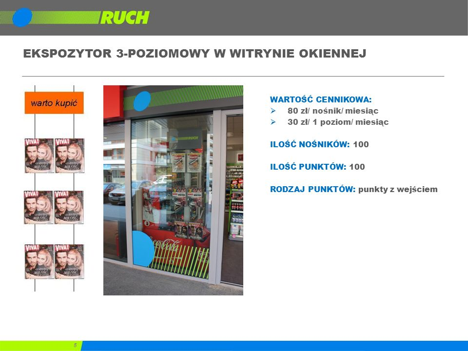 36 Program lojalnościowy – koszt  5 PLN /m-c  koszt utrzymania systemu 5 PLN na Punkt Sprzedaży  20 000 PLN  koszt dostosowania modułu lojalnościowego do wymagań Kontrahenta  ostateczny koszt ustalony na podstawie indywidualnej wyceny wymagań Kontrahenta  Opłata miesięczna za przystąpienie do programu lojalnościowego uzależniona od czasu trwania programu:  20 000 PLN / m-c –program aktywny przez 1 miesiąc  17 500 PLN / m-c –program aktywny przez 2 miesiące (suma 35 000 PLN)  15 000 PLN / m-c –program aktywny przez 3 miesiące (suma 45 000 PLN)  zwrot kosztów przyznanego bonusu  zgodnie z ustalonym przelicznikiem biznesowym  koszt karty lojalnościowej po stronie kontrahenta  prowizja 0,50 PLN dla Punktu Sprzedaży  za każdy prawidłowo wypełniony formularz przystąpienia do programu lojalnościowego (dane osobowe) w sieci RUCH  0,50 PLN – rekord bazy z danymi osobowymi uczestników, przekazany do organizatora programu lojalnościowego (Kontrahent)  obowiązek zgłoszenia zbioru danych do rejestracji w prowadzonym przez GIODO ogólnokrajowym, jawnym rejestrze zbiorów danych osobowych  właściwy sposób zabezpieczenia zgromadzonych danych,  dbałość o interesy osób, których dane dotyczą i respektowanie ich praw gwarantowanych ustawą o ochronie danych osobowych.