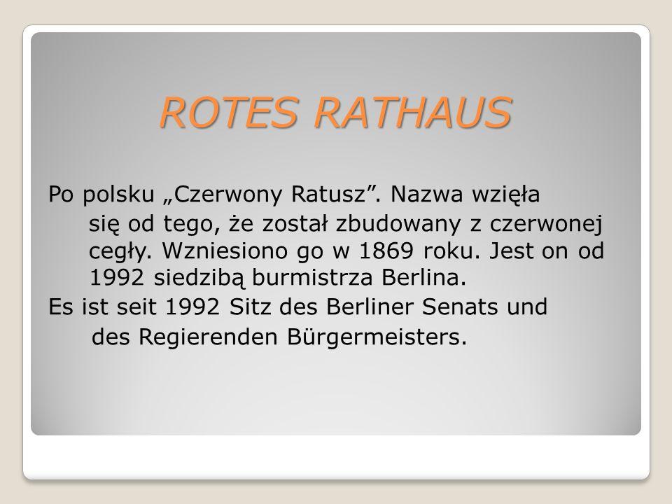"""ROTES RATHAUS Po polsku """"Czerwony Ratusz ."""