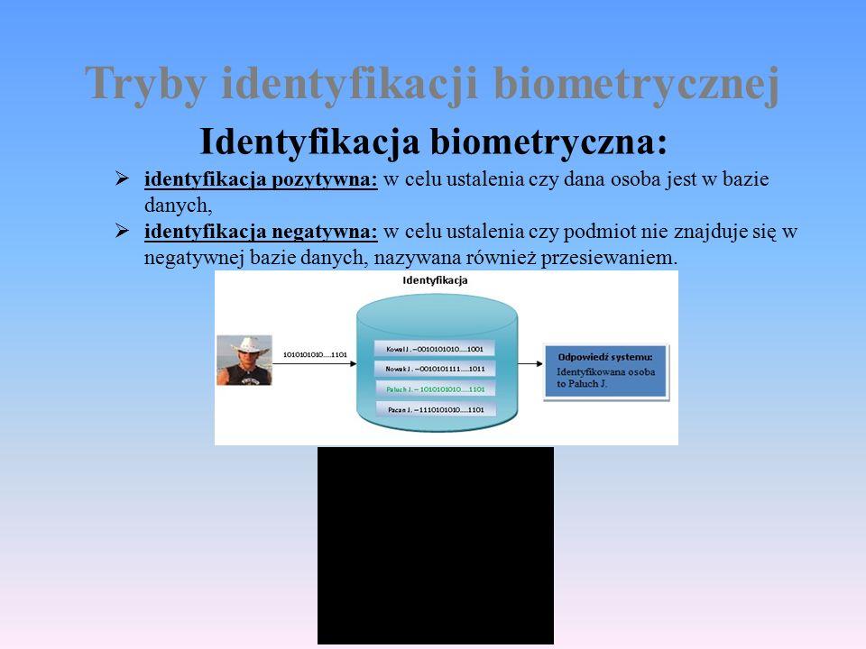 Tryby identyfikacji biometrycznej Identyfikacja biometryczna:  identyfikacja pozytywna: w celu ustalenia czy dana osoba jest w bazie danych,  identyfikacja negatywna: w celu ustalenia czy podmiot nie znajduje się w negatywnej bazie danych, nazywana również przesiewaniem.