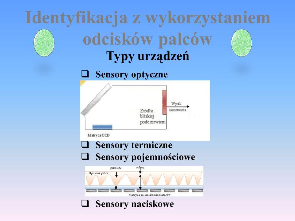 Identyfikacja z wykorzystaniem odcisków palców Typy urządzeń  Sensory optyczne  Sensory termiczne  Sensory pojemnościowe  Sensory naciskowe