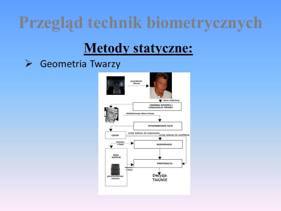 Przegląd technik biometrycznych Metody statyczne:  Geometria Twarzy