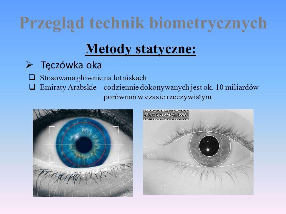 Przegląd technik biometrycznych Metody statyczne:  Tęczówka oka  Stosowana głównie na lotniskach  Emiraty Arabskie – codziennie dokonywanych jest ok.