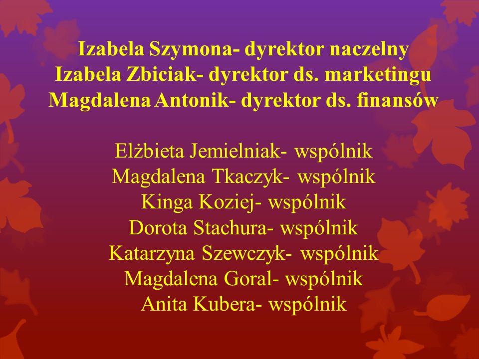 Izabela Szymona- dyrektor naczelny Izabela Zbiciak- dyrektor ds.