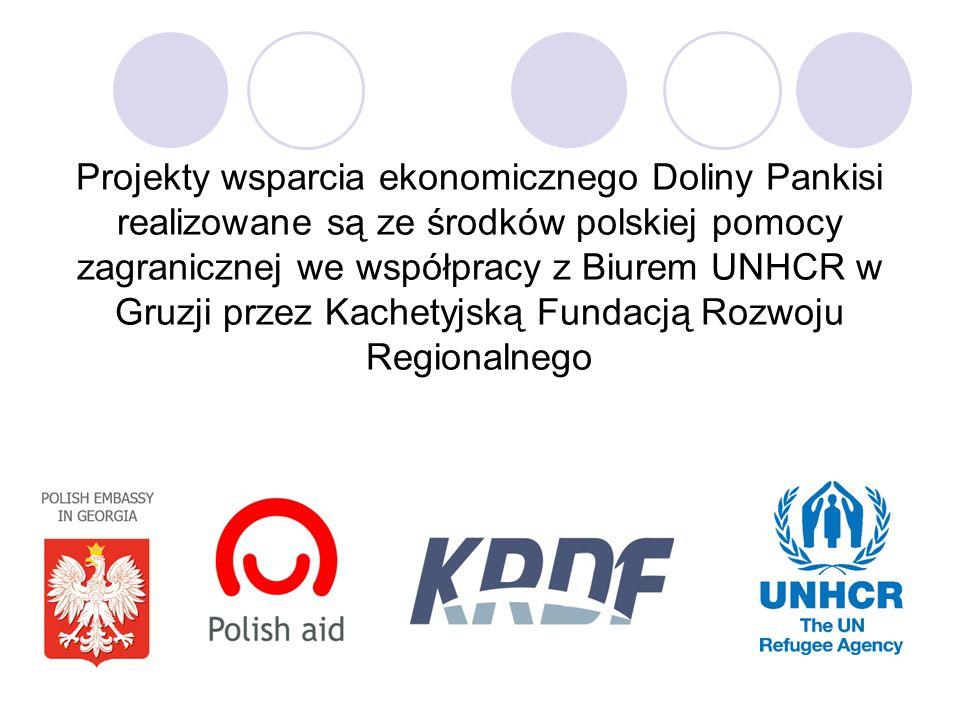 Projekty wsparcia ekonomicznego Doliny Pankisi realizowane są ze środków polskiej pomocy zagranicznej we współpracy z Biurem UNHCR w Gruzji przez Kach