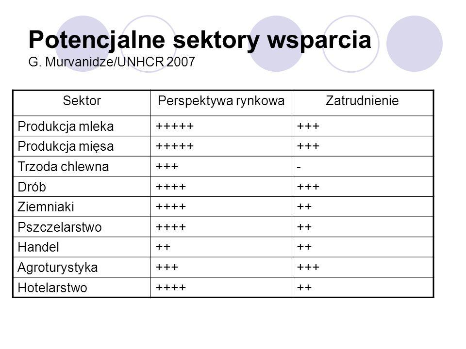 Potencjalne sektory wsparcia G. Murvanidze/UNHCR 2007 SektorPerspektywa rynkowaZatrudnienie Produkcja mleka++++++++ Produkcja mięsa++++++++ Trzoda chl