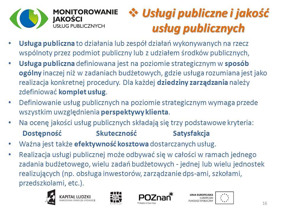 Usługa publiczna to działania lub zespół działań wykonywanych na rzecz wspólnoty przez podmiot publiczny lub z udziałem środków publicznych, Usługa publiczna definiowana jest na poziomie strategicznym w sposób ogólny inaczej niż w zadaniach budżetowych, gdzie usługa rozumiana jest jako realizacja konkretnej procedury.