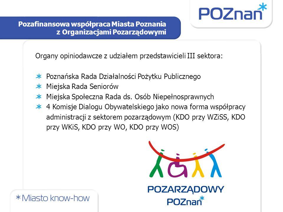 Pozafinansowa współpraca Miasta Poznania z Organizacjami Pozarządowymi Organy opiniodawcze z udziałem przedstawicieli III sektora: Poznańska Rada Działalności Pożytku Publicznego Miejska Rada Seniorów Miejska Społeczna Rada ds.