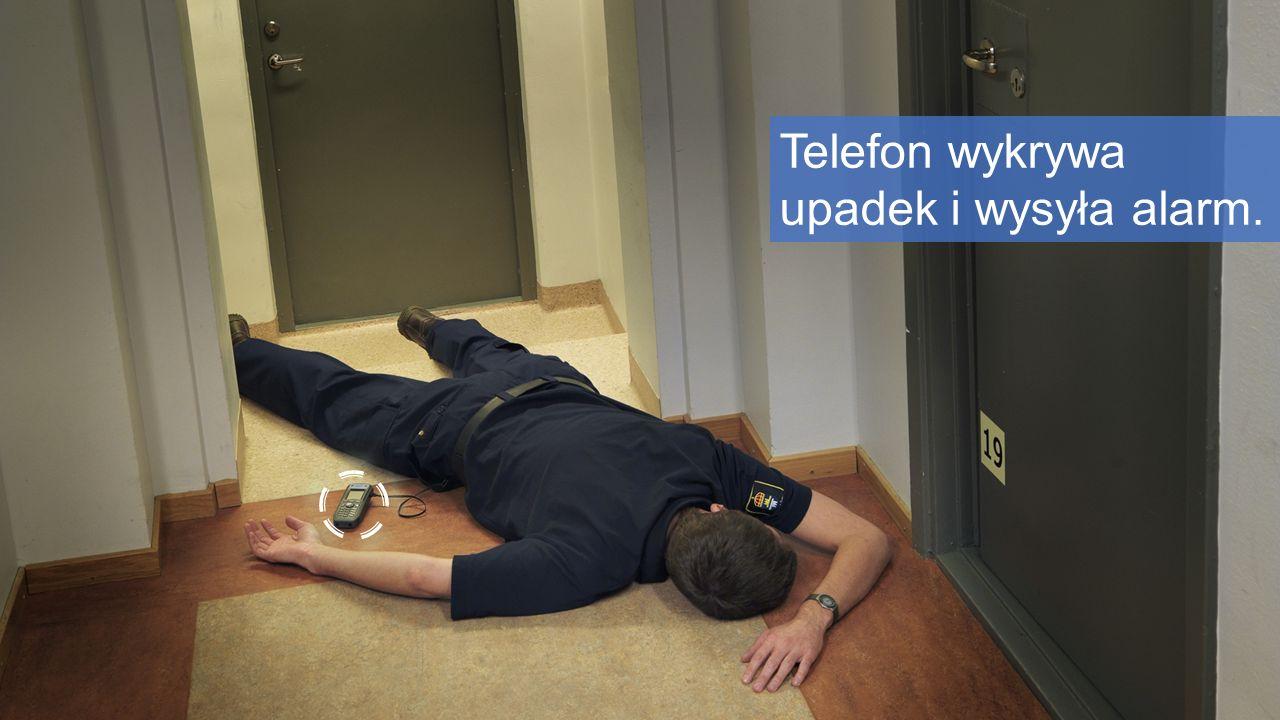 Telefon wykrywa upadek i wysyła alarm.