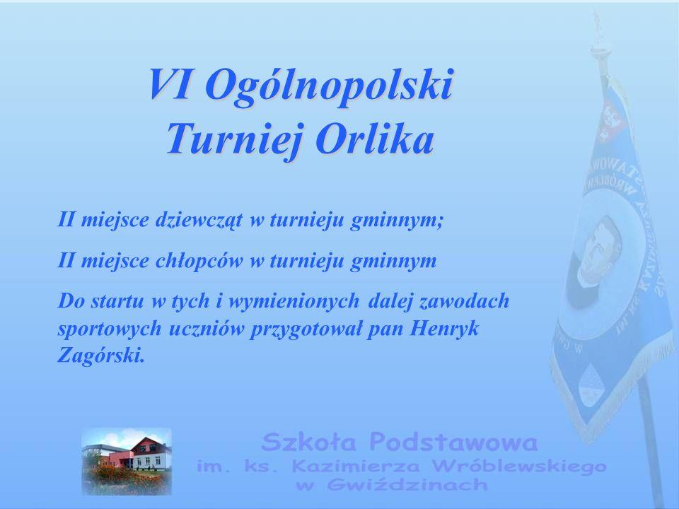 VI Ogólnopolski Turniej Orlika II miejsce dziewcząt w turnieju gminnym; II miejsce chłopców w turnieju gminnym Do startu w tych i wymienionych dalej zawodach sportowych uczniów przygotował pan Henryk Zagórski.